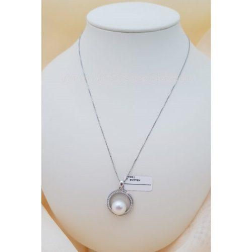 Ezüst medál cirkónia kövekkel és tenyésztett igazgyönggyel