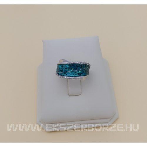 Pávakagylós, köves női gyűrű