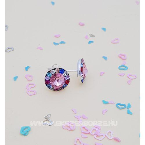 Színes Swarovski kristályos ezüst fülbevaló