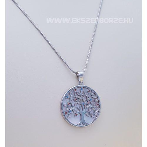 Színes köves ezüst életfa/szeretet fa medál gyöngyház berakással