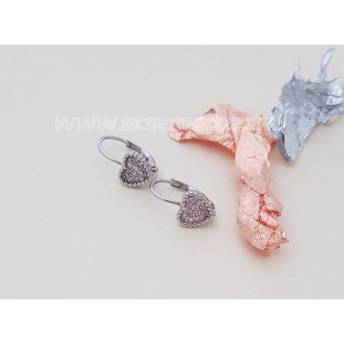 Rózsaszín köves baba/kislány fülbevaló