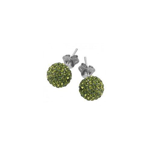 Olívazöld Swarovski kristályos fülbevaló