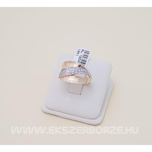 Kő nélküli női arany gyűrű, gyémántmetszéssel díszítve