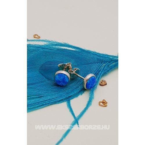 Kékopál köves arany fülbevaló