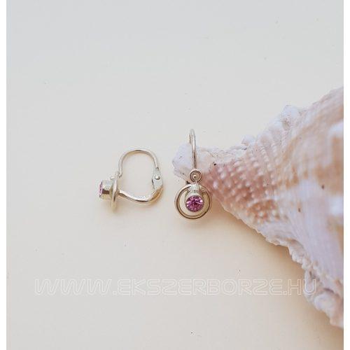Baba fülbevaló rózsaszín kővel