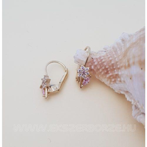 Rózsaszín-fehér köves virágos kislány arany fülbevaló