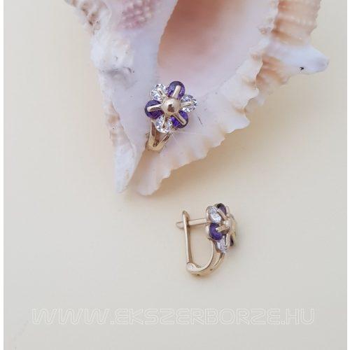 Virágos francia kapcsos babafülbevaló lila-fehér kövekkel