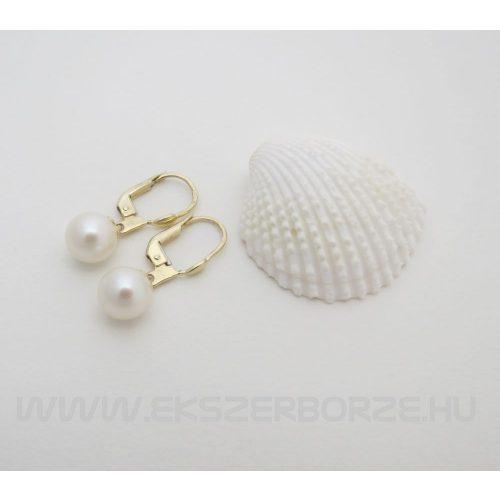Sósvizi tenyésztett gyöngyös fülbevaló