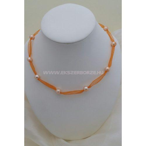 Édesvízi tenyésztett igazgyöngy nyaklánc-narancs