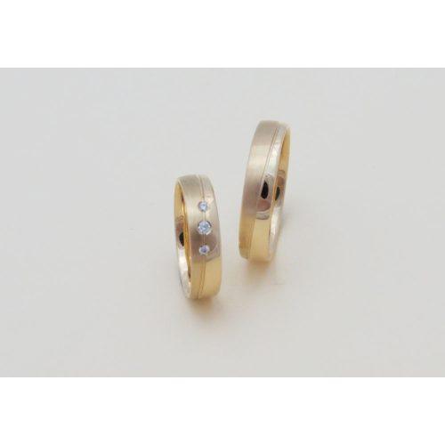 Sárga arany mattított köves karikagyűrű