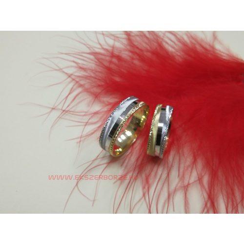 Fehér- sárga arany gyémántvésett karikagyűrű pár